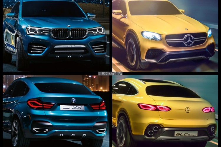 Bild Vergleich Mercedes Glc Coup 233 Vs Bmw X4