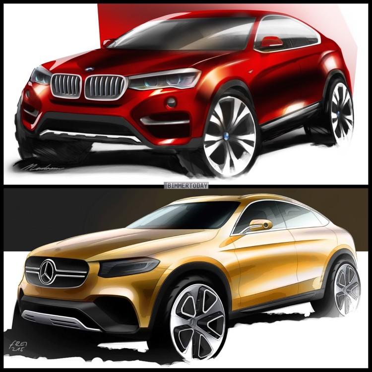 Bild-Vergleich-BMW-X4-F26-Mercedes-GLC-Coupe-Skizzen-2015
