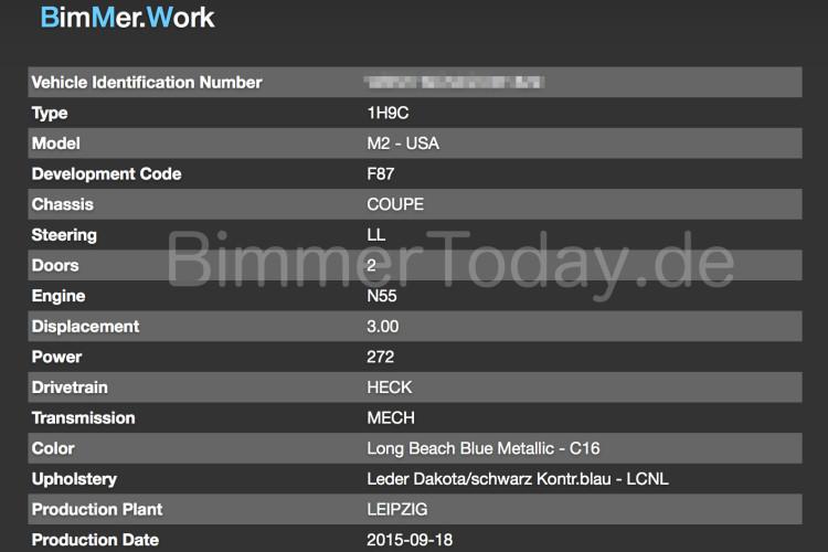 Bmw M2 Vin Decoder Liefert Weitere Infos Zum 370 Ps F87