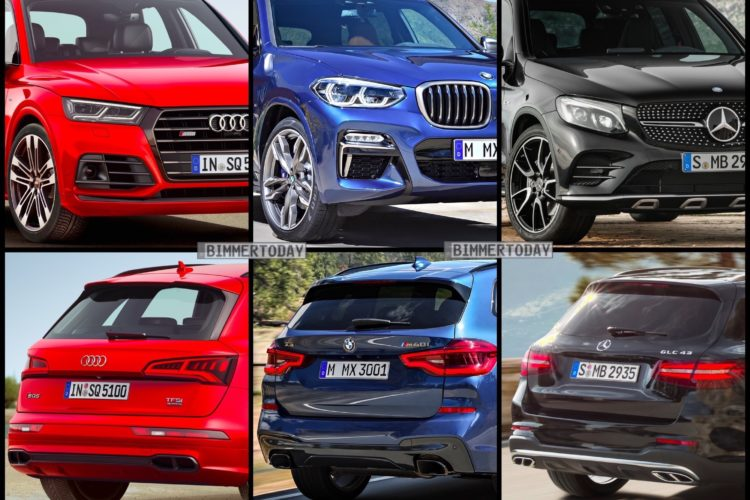 vergleich bmw x3 m40i vs audi sq5 und mercedes amg glc 43. Black Bedroom Furniture Sets. Home Design Ideas