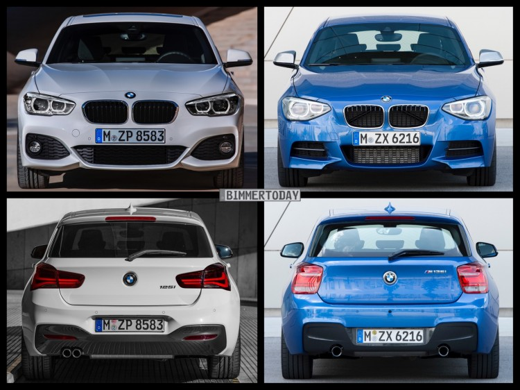 bild vergleich bmw 1er m sport 2015 trifft pre facelift. Black Bedroom Furniture Sets. Home Design Ideas