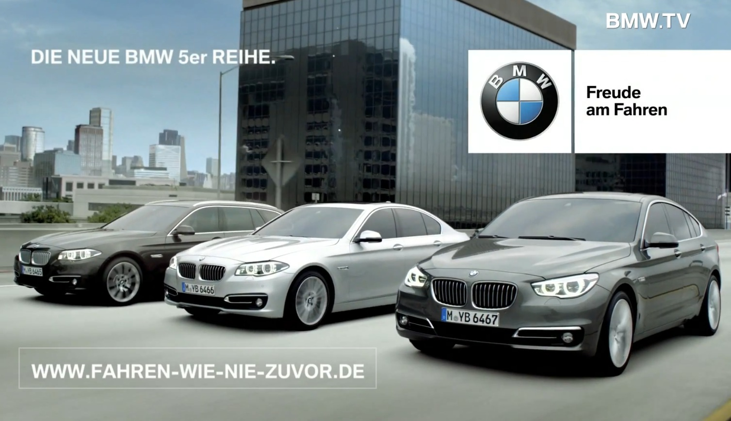 bmw 5er facelift 2013 tv werbung zeigt limousine touring und gt. Black Bedroom Furniture Sets. Home Design Ideas