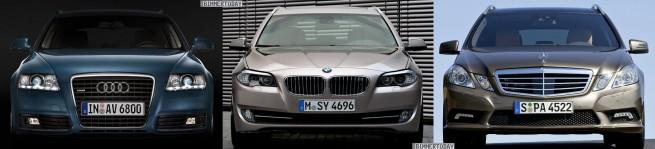 BMW-5er-Touring-F11-Audi-A6-Avant-Mercedes-E-Klasse-T-Modell-Front