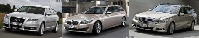 BMW-5er-Touring-F11-Audi-A6-Avant-Mercedes-E-Klasse-T-Modell-Front-schraeg