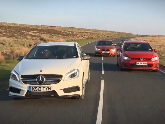 BMW-M135i-Mercedes-A-45-AMG-VW-Golf-7-GTI-Vergleich-Video