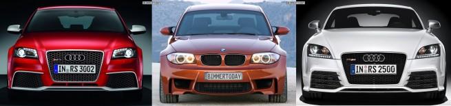 Bildvergleich-Audi-RS3-BMW-1er-M-Audi-TT-RS