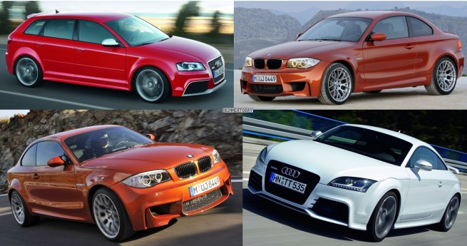 Bildvergleich-Audi-RS3-BMW-1er-M-Audi-TT-RS-Front