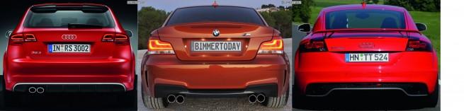 Bildvergleich-Audi-RS3-BMW-1er-M-Audi-TT-RS-Heck