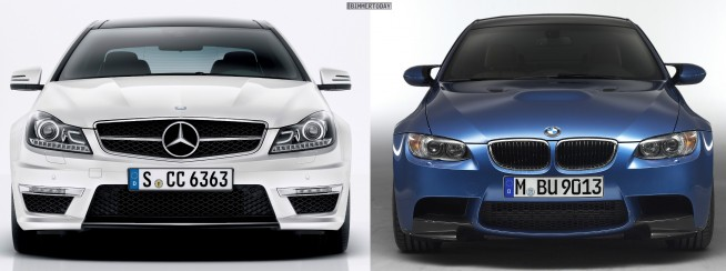 Bildvergleich-BMW-M3-E92-Mercedes-C63-AMG-Coupé-Front