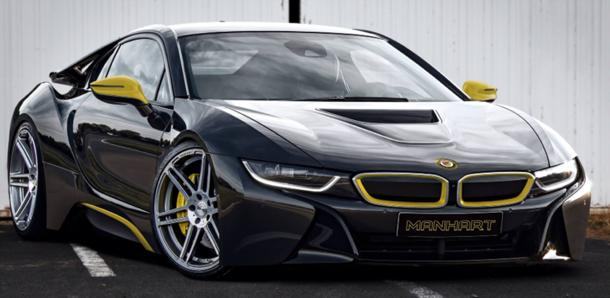 manhart bmw i8 tuning paket f r plug in hybrid in arbeit. Black Bedroom Furniture Sets. Home Design Ideas