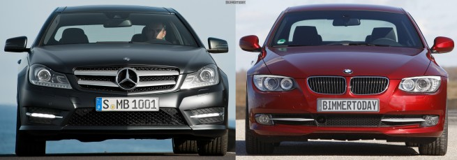 Mercedes-C-Klasse-Coupé-BMW-3er-Coupé-Bildvergleich-Front