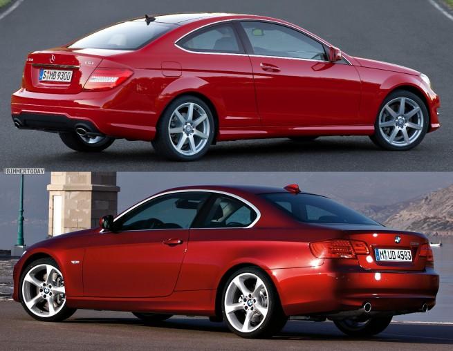 Mercedes-C-Klasse-Coupé-BMW-3er-Coupé-Bildvergleich-Heck1